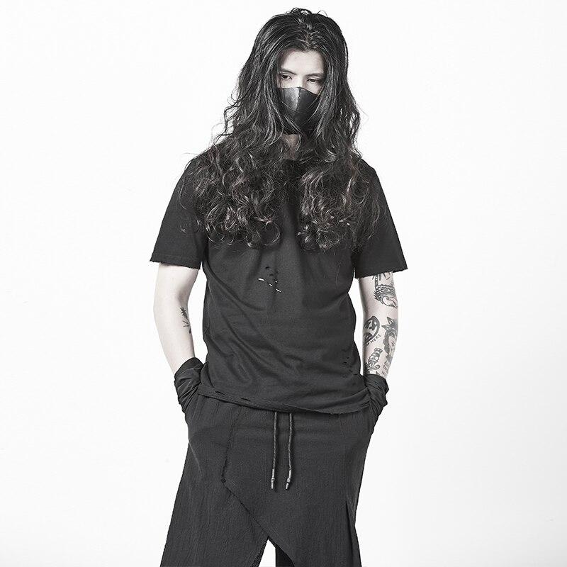 Trou T-shirt rétro Punk Style de rue personnalité homme col rond manches courtes noir Slim