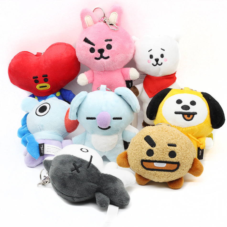 Kpop BTS BT21 Plush Keychain Doll Keyring TATA VAN RAP MONSTER CHIMMY COOKY MANG KOYA Stuff Soft Toy Plush Badge Brooch Limited