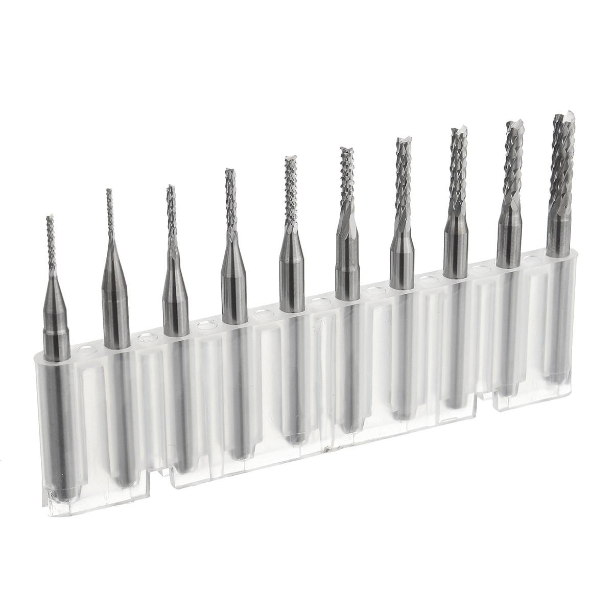 10Pcs/Box 1/8 Inch 0.8/1.0/1.2/1.4/1.6/1.8/2.0/2.2/2.4/3.17mm PCB Engraving Cutter Rotary CNC End Mill Milling Cuter Drill Bits 10pcs 1 8 0 8 3 175mm pcb twist drill bit set engraving cutter rotary cnc end mill for metal drill bit yx