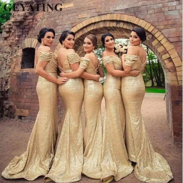 Champagne Gold Sequins Mermaid Bridesmaid Dresses Long Country Off Shoulder  Beach Wedding Party Guest Gowns Maid of Honor Dress 2f829501793c