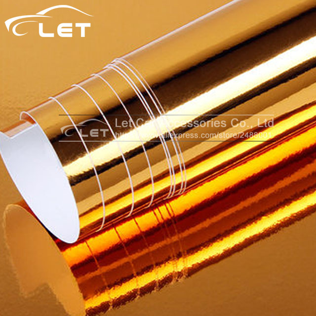цена на The newest High stretchable Waterproof UV Protected silver gold Chrome Mirror Vinyl Wrap Sheet Roll Film Car Sticker Decal Sheet