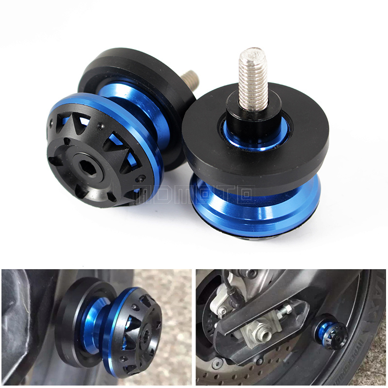 For YAMAHA YZF R25/R3 YZF-R25 YZF-R3 MT-25 MT-03 Blue Motorcycle Accessories Swingarm Spools slider 6mm stand screws Tmax500/530 kickstand foot side stand extension pad support plate for yamaha yzf r3 r25 mt 03 mt 25 2014 2015 2016