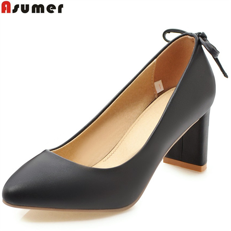 ASUMER black white shallow spring autumn pumps shoes woman pointed toe spring thick heel women high heels shoes big size 33-43 women shoes pumps spring 2017 thick low heels autumn elegant slip on pointed toe casual shoes ladies office wear big size 41 42