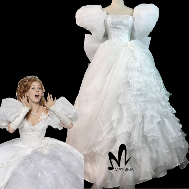 808ce795f Movie Enchanted Princess Giselle Cosplay Costume Adult Women Halloween  Costumes White Party Gown Fancy Giselle Dress Sc 1 St AliExpress.com