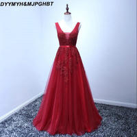 Elegant Long Prom Dresses V Neck Floor Length Red Tulle with Appliques Party Prom Gowns Vestido de Fiesta