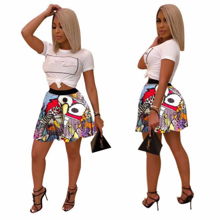 2019 women new summer vintage cartoon letter print high waist above knee mini pleated skirts retro fashion skirt outfit Z022