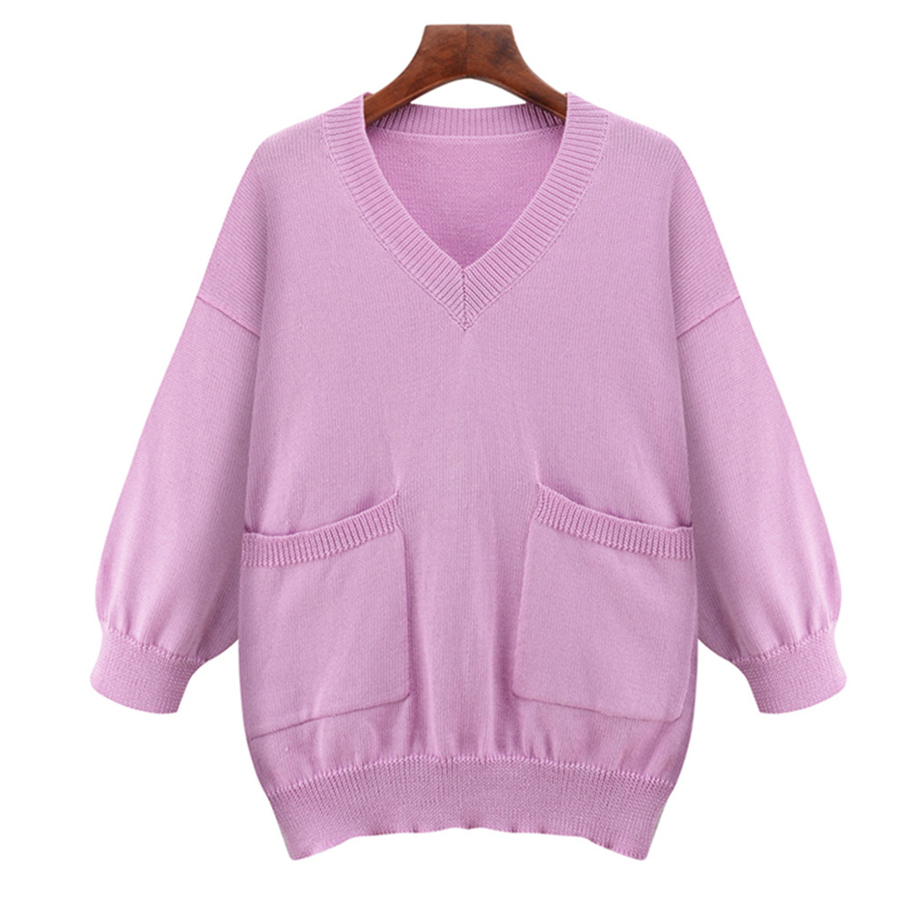 Women Sweaters and Pullovers Autumn Casual Knitted 3/4 Sleeve Female Poncho Plus Size 5XL Pocket Design Solid Sweater