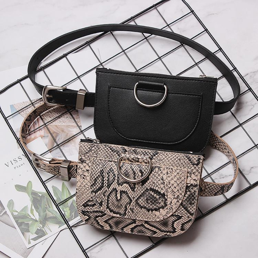 Fashional Snake Pattern Waist Bags Women Slim Zipper Belt Bag Ladies Round Pu Leather Fanny Packs Female Chest Pack 100cm Belt