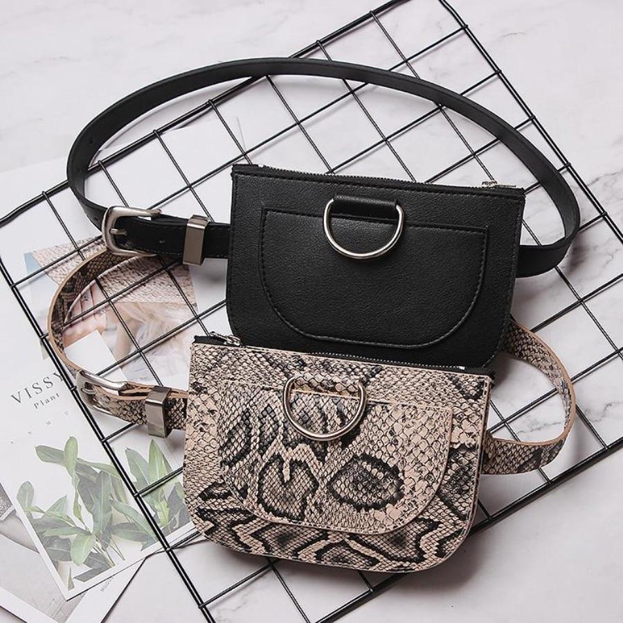 Fashional Snake Pattern Waist Bags Women Slim Zipper Belt Bag Ladies Round Pu Leather Fanny Packs Female Chest Pack 100cm Belt