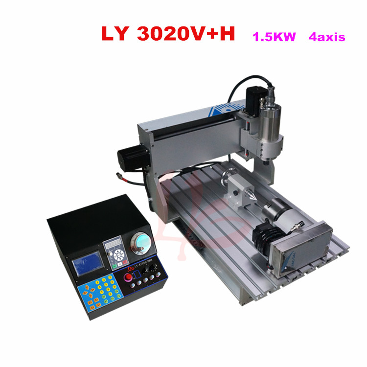 Hot sale Ball Screw CNC Machine 3020V+H 1.5KW 4 axis water cooling spindle, for metal wood milling hot product 3d cnc machine for sale