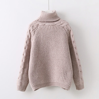 Winter Casual Women Sweater Turtleneck Twist Sleeve Thickened Warm Pink Gray Knitted Sweater And Pullover For