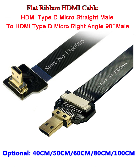 Ultra Thin Micro HDMI Straight Male to Micro (Type D) Right Angle Male Flat Ribbon FPV Cable- 40CM/50CM/60CM/80CM/100CM Optional 40cm 50cm 60cm ultra thin usb flat ribbon cable type c straight to male micro down angle line connector