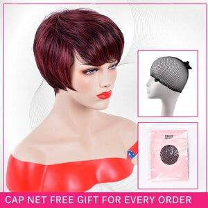Image 5 - Pelucas cortas y rectas de pelo sintético pelucas de pelo rojo vino de fibra de alta temperatura, pelucas para uso diario