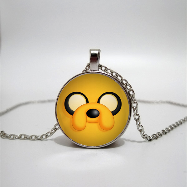 Adventure time logo glass pendant necklace handmade round female jewelry men gift custom private photo