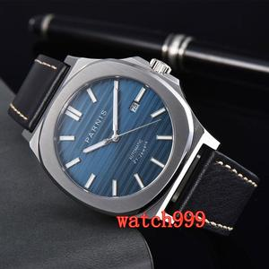 Image 4 - NEW 45mm PARNIS miyota mens watch Blue dial Sapphire Crystal Leather strap Luminous Mechanical Automatic Mens Watch