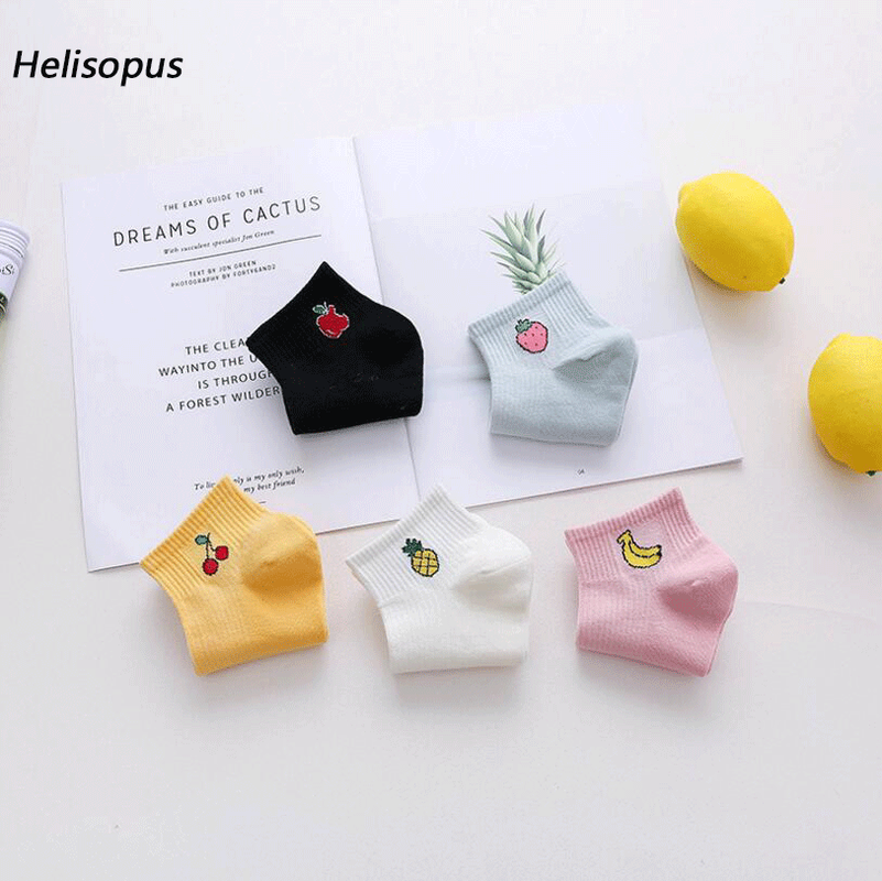 Helisopus 2019 Summer New Cotton Blend   Socks   Harajuku Fruit Printed Sweet Short   Socks   for Women Sweat Comfortable Boat   Socks
