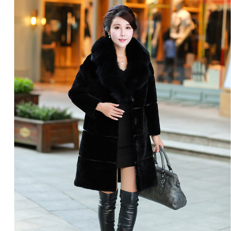 New Imitation Fur Coat Lady Lamb Thickening In The Long Winter Warm Cashmere Fur Collar Faux Fur Coat Winter Jacket Women Fur