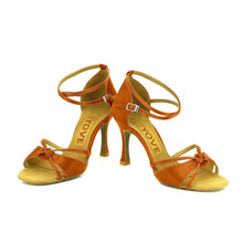 YOVE Dance Shoe Satin Women's Latin/ Salsa Dance Shoes 3.5″ Flare High Heel More Color w124-23