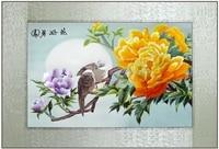 Finnished ago filo di seta ricamo a punto pittura decorativa/fiori di Peonia/Ufficio Albergo Ristorante Wall art immagini