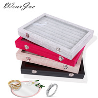 High Capacity 35*24cm Soft Velvet Ring Earring Display Storage Case Glass Lid Locker Organizer Jewelry Ring Package Carrying Box