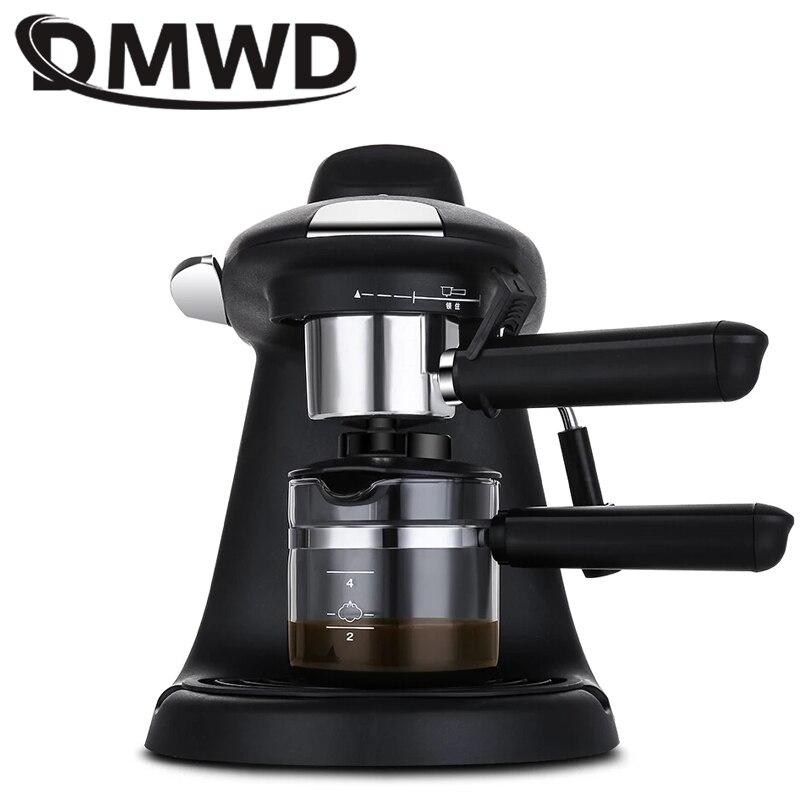DMWD мини полуавтоматическая Итальянская Кофеварка для эспрессо высокого давления, Паровая пена для вспенивания молока, кофейная машина, 5Bar ...