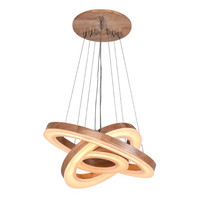 Modern Wood Acrylic Ring Pendant Chandelier Creative Simple Lamp Restaurant Living Room Lighting Fixtuture