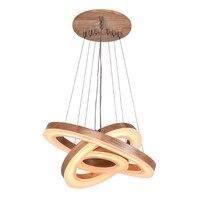 Modern Wood Acrylic Ring Pendant Chandelier Creative Simple Lamp Restaurant Living Room Lighting Fixtuture