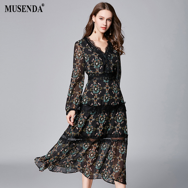 d6e650b7c99d MUSENDA Plus Size Women Black Thin Chiffon Print Lace Deep V-Neck Dress New  2018 Summer Sundress Female Ladies Boho Sexy Dresses