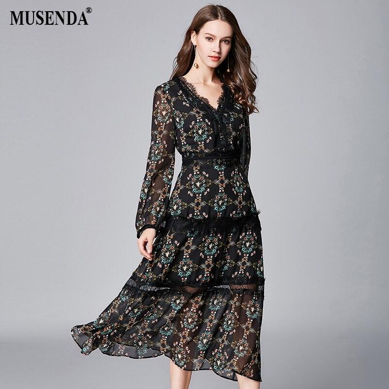 MUSENDA Plus Size Women Black Thin Chiffon Print Lace Deep V-Neck Dress New 2018 Summer Sundress Female Ladies Boho Sexy Dresses