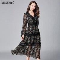 MUSENDA Plus Size Women Black Thin Chiffon Print Lace Deep V Neck Dress New 2018 Summer Sundress Female Ladies Boho Sexy Dresses