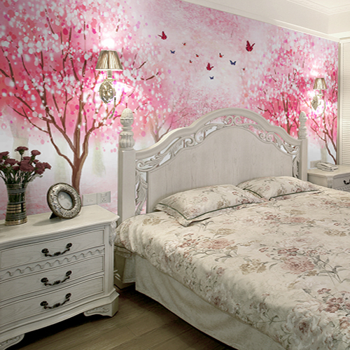 3d Photo Wallpaper 3d Stereo Cherry Blossom Wallpaper