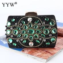 Green Rhinestones Clutch Women Handbag Satin Bag With Chain Shoulder Bags Elegant Wedding Clutches Purse Female Black Wallets black glitter clutch bags with chain