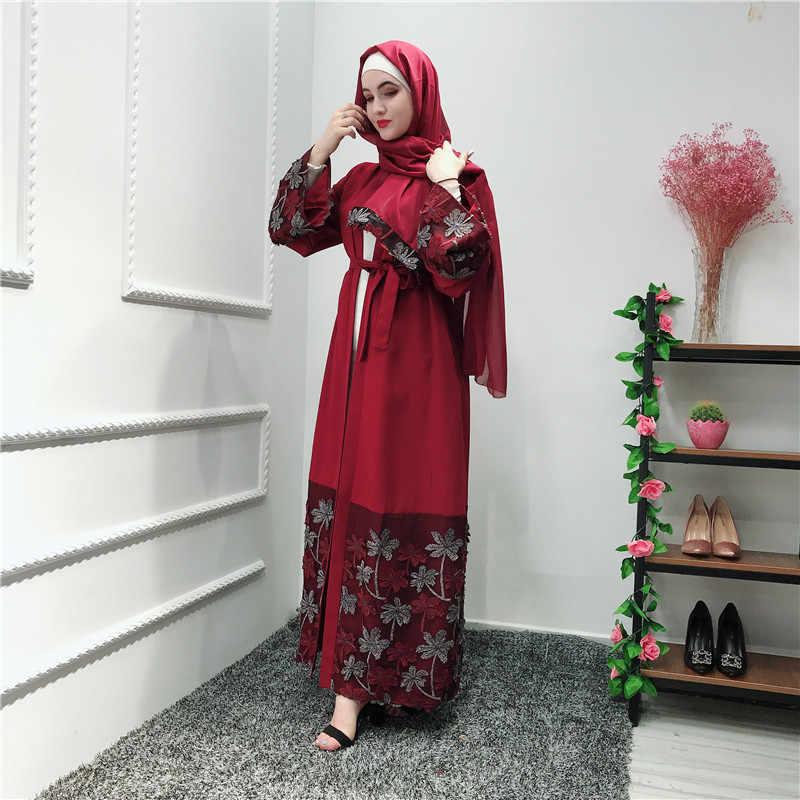 Рамадан абайя Дубай Турецкая индейка Бангладеш Болеро 3D Цветы красный синий мусульманский халат женский кардиган Исламская одежда хиджаб