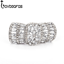 LOVBEAFAS Fashion Bright Silver Knuckle Love Party Rings For Women Jewelry Retro Crystal Armor Kinetic Ring Gift