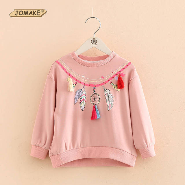 Tassel Girls Sweatshirts New Costumes For Kids Spring 2017 Long Sleeve Pullover Cartoon Children Tops Casual Baby Girl Clothes