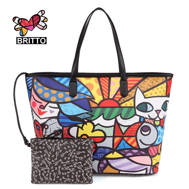 ФОТО ROMERO BRITTO PU  Vintage Handbags New Realer Brand Printed Leather Bags For Women  Medium Big Tote Bags Female Graffiti Bags