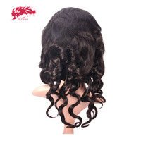 Ali Queen Hair Products Loose Wave Virgin Brazilian Hair Natural Color 18~22 130% Density Lace Front Human Hair Wigs