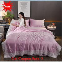 New lace washed silk summer quilit 4pcs summer duvet pillowcase bed sheet sets air conditioning quilt blanket free shipping