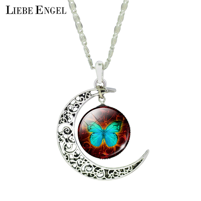 LIEBE ENGEL 2017 Newest Moon Necklace Fashion Glass Butterfly Collars for Women Vintage Silver Color Fine Jewelry