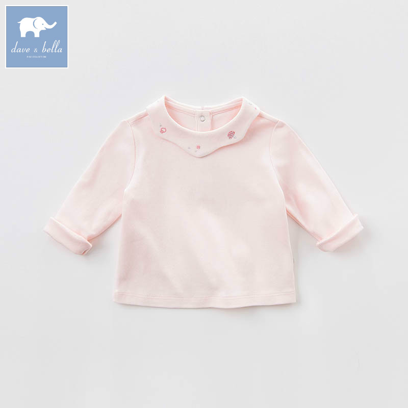 DB7391 dave bella spring infant baby girls fashion pink t-shirt kids cotton lovely tops children high quality tee