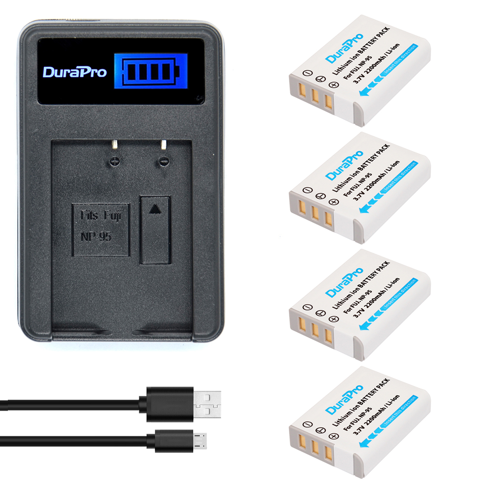 4pc NP-95 NP 95 NP95 Rechargeable Li-ion Battery + LCD Charger For FUJIFILM F30 F31 F30fd F31fd 3D W1 X100T X100S X100 X-S1 3DW1