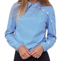 Striped Button Casual Women Tops And Blouses 2018 New Spring Fashion Long Sleeve Turn Down Collar