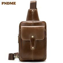 Leather mens bag retro oil wax leather multi-functional chest casual simple shoulder