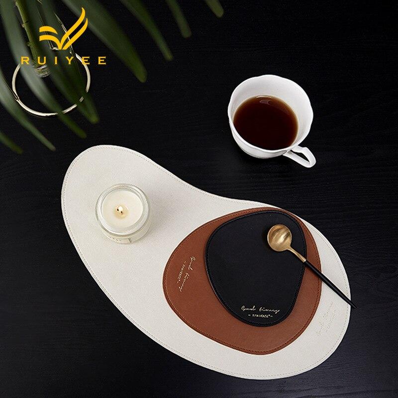 RUIYEE marque Nordique style PU en cuir souris pad coaster 3 pièces western pad alimentaire étanche isolation anti-chaude en cuir pad ensemble
