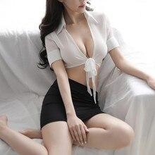 New sexy lingerie womens seductive see-through shirt uniform and hip skirt set.