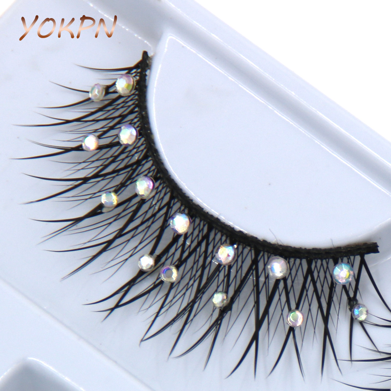 YOKPN  Bright Color Crystal False Eyelashes Crystal Bridal Makeup  Makeup False Eyelashes Natural Thick False Eyelashes