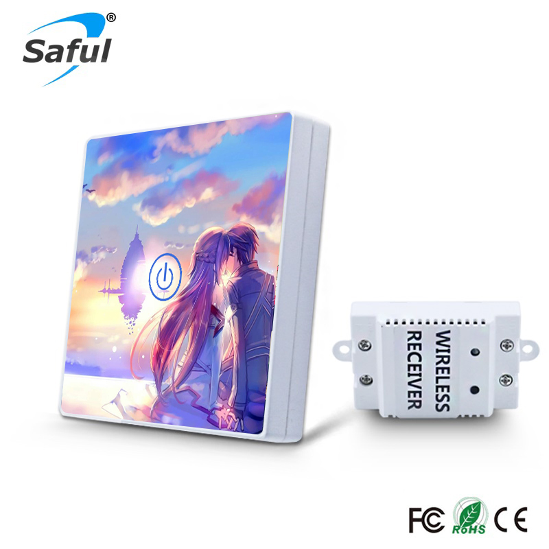 Saful Carton Picture DIY Painting Touch Screen Wall Switch 1 Gang 1 Way Crystal Glass Switch Remote Wireless Touch Switch