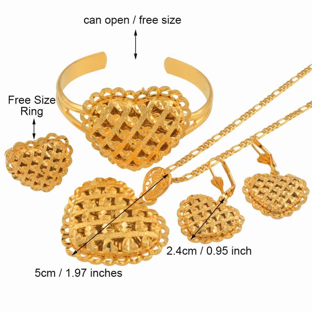 Африканское Сердце Ювелирные наборы Эфиопский золотой цвет свадебное ожерелье серьги браслет кольцо Дубай арабские Свадебные украшения #119106