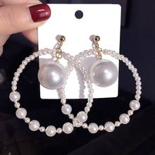 Big Earrings Exaggerated Round Circle Simulated Pearl Ball Drop Dangle Earrings For Women Jewelry circle fake pearl drop earrings page 7