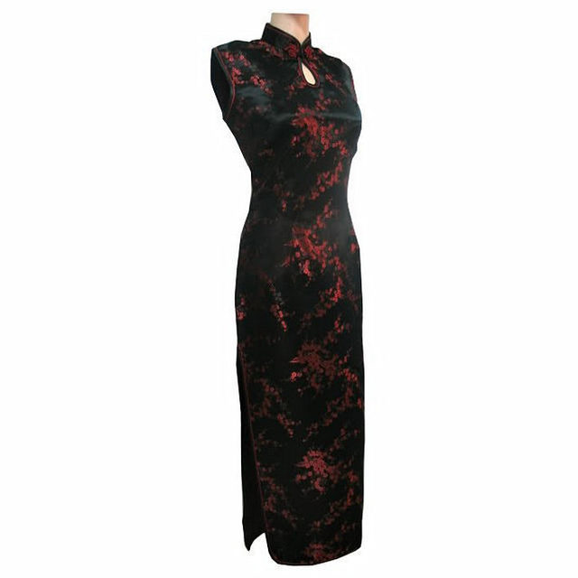 Black-Red Traditional Chinese Dress Mujer Vestido Women's Satin Long Halter Cheongsam Qipao Flower Size S M L XL XXL XXXL J3035